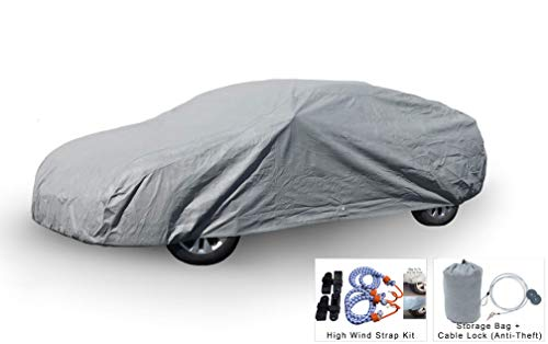 Weatherproof Car Cover for Bentley Continental Flying Spur 2006-2019 - 5L Outdoor & Indoor - Protect from Rain, Snow, Hail, UV Rays, Sun - Fleece Lining - Anti-Theft Cable Lock, Bag & Wind Straps
