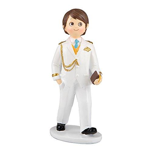 Mopec Figura para Pastel de Comunión niño Vestido de Almirante en Blanco, Pack de 2 Unidades, Poliresina, 5.40x8.00x17.00 cm