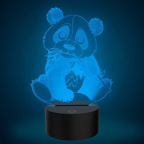 3D Illusion Lamp Panda Led Night Light, USB Powered 7 Colours Flashing Touch Switch Bedroom Decoration Lighting for Kids Christmas Gift