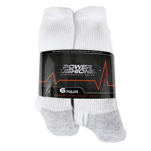 Power Cushioned Performance Crew Large 6 Pair Pack (White), LARGE (Men's shoe size 9-12)