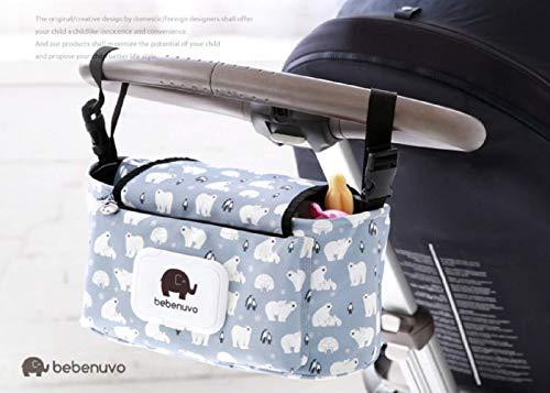 Kinderwagen Organizer, Universale Baby Kinderwagentasche mit Reißverschluss, Unverzichtbares Kinderwagen-Zubehör Aufbewahrungstasche. (Weißer Bär)