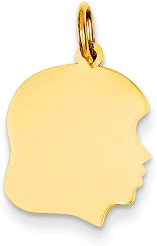 14k Plain Medium .009 Gauge Facing Right Engravable Girl Head Charm