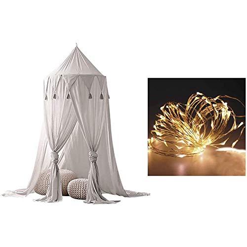 Betthimmel mit Lichtern, Moskitonetz für Kinder, rundes Kuppel-Spielzelt, Vorhang, Bettwäsche, rundes Zelt für...