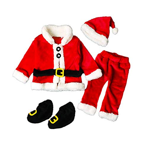 Baby Boys Girls Christmas Outfits Infant Santa Claus Costume Cosplay Coat Xmas Party Photography Props Outfit Set 4PCS (18-24 Months, Red (Santa 4PCS))