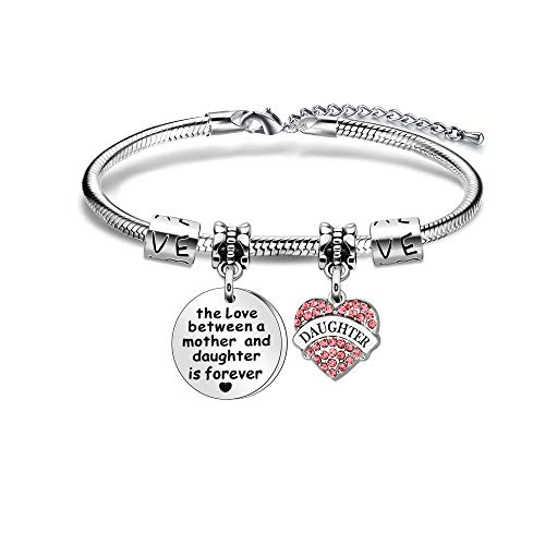 Daughter Gift Daughter Bracelet from Mum Mother Crystal Heart Pendant Bracelet -The Love Between A Mother And Daughter Is Forever