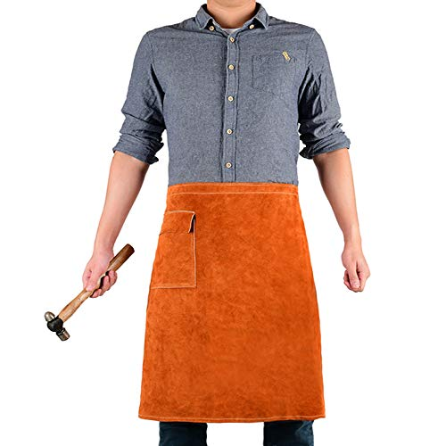 Welding Waist Apron with Pocket by QeeLink - 24' X 24' Leather Wasit Apron