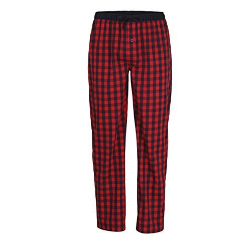 Ceceba Herren Lange-Hose, Schlafhose, Pyjama-Hose - Baumwolle, Popeline, rot, kariert, mit Eingriff 52