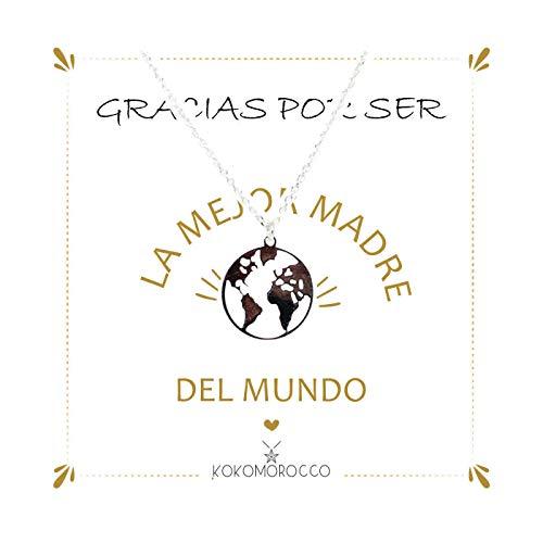 Kokomorocco Colgante Bola del Mundo de Plata de Ley, Regalo día de la Madre, con Tarjeta Gracias por ser la Mejor Madre del Mundo.Regalos Originales