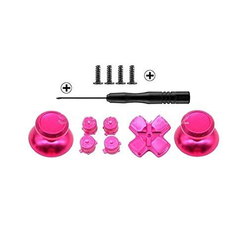 New Botones del Metal fijados Chrome analógicas Thumbsticks for Playstation 4 D-Pad for PS4 Palanca de Mando reparación de Accesorios del Juego (Color : Hot Pink)