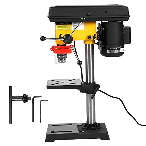 GOTOTOP 500W Bench Pillar Drill Press 9 Grade Speed Adjustment with 16mm Chuck Bench, US Plug 220V