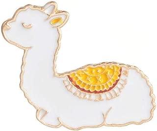 Niome Women Cute Alpaca Enamel Pin Statement Brooch White