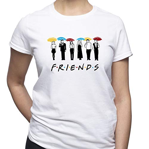 EUGINE DREAM Friends Umbrellas Friends TV Series T-Shirt Donna Bianco S