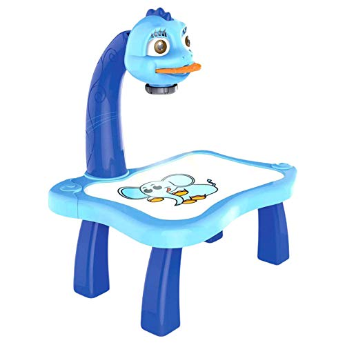 Juego de máquina de dibujo, tabla de dibujo de aprendizaje para niños, proyector inteligente, kit de máquina de pintura de juguete para niños y niñas (azul)