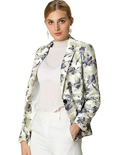 Allegra K Women's Floral Print One Button Notched Lapel Blazer Jacket S White