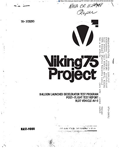 Balloon launched decelerator test program: Post-flight test report, BLDT vehicle AV-3, Viking 1975 project (English Edition)
