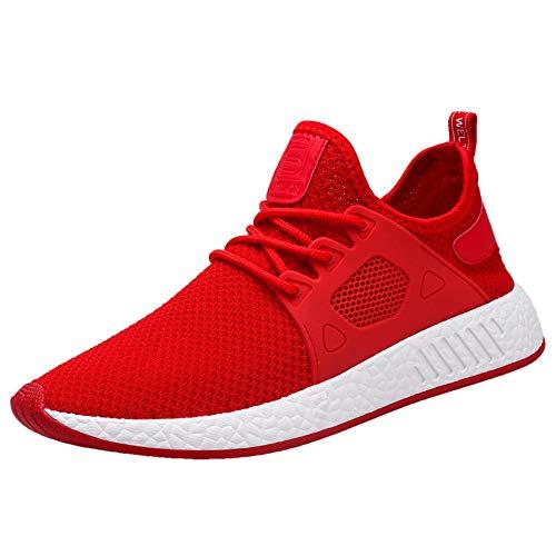 PLOT Promotionen Männer Sneaker,2018 Neu Schnürsenkel Atmungsaktiv Mesh Laufschuhe Weiche Sohle Sportschuhe Schnürer Outdoor Fitnessschuhe (44, Rot)