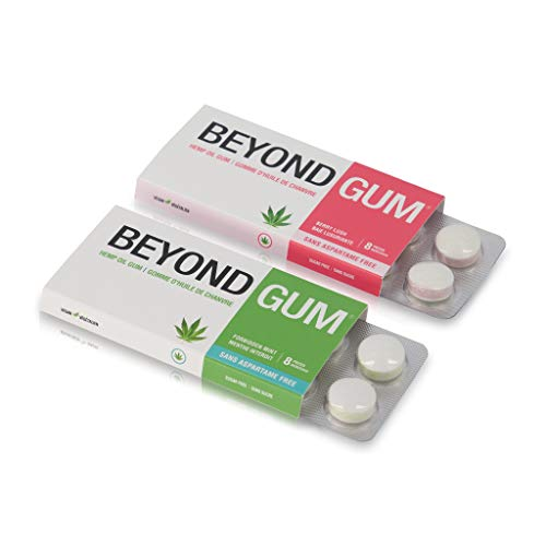 BEYOND GUM- HEMP OIL CHEWING GUM- Mint 4 PACK- Aspartame Free, Sugar Free, NON GMO, Vegan