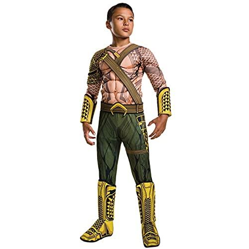 GAOAO Disfraz de Halloween de Aquaman del Amanecer de la Justicia Muscular para niños, Disfraz de Cosplay de superhéroe de la Liga de la Justicia para niños