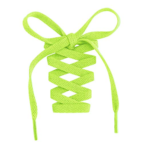"""Handshop Flat Shoelaces 5/16"""" - Shoe Laces Replacements For Sneakers and Athletic Shoes Boots Neon Green 114cm"""