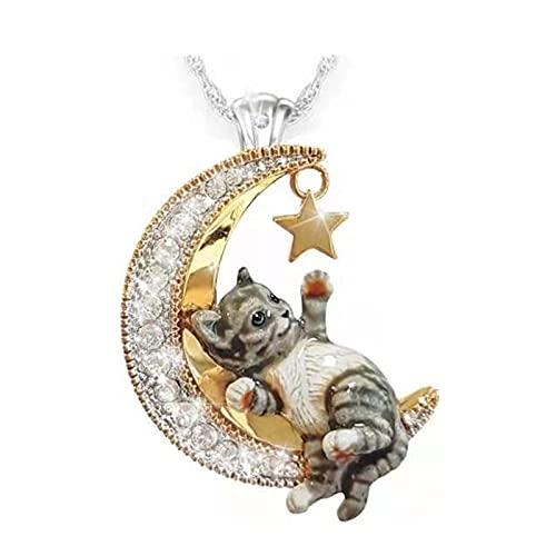 Collar con colgante de perro con luna de cristal a la moda, collar con micro incrustaciones de zirconio, gato, mascota, colgante de media luna de cristal de diamante (B)