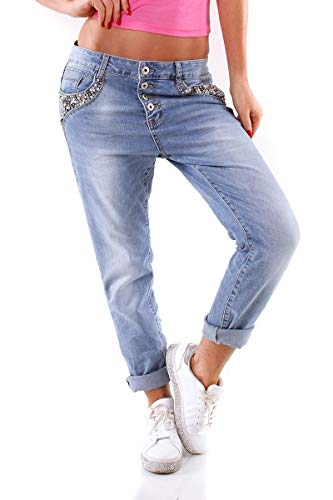 OSAB-Fashion 5989 Damen Jeans Röhrenjeans Hose Boyfriend Baggy Haremscut Damenjeans