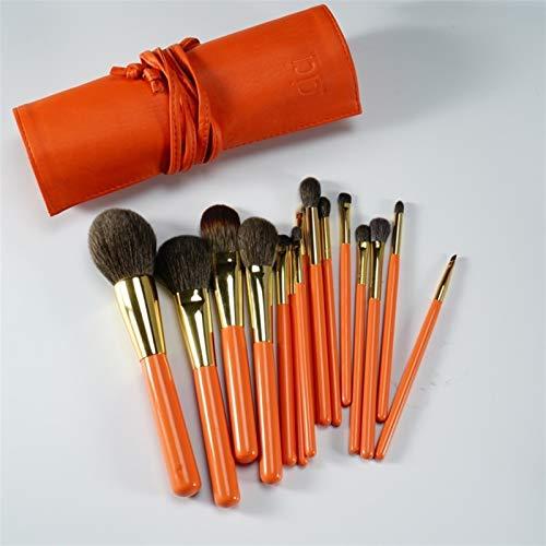 LIANMIBA Kosmetika Professionelle handgemachte Make-up-Bürsten Set weiche Haarpulver-Blush-Lidschatten-Pinsel-Make-up-Bürsten-Kit (Handle Color : Orange)