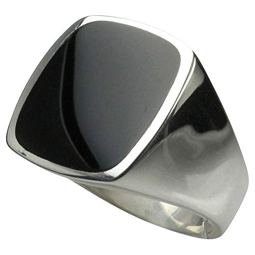 Massiver Siegelring aus 925er Silber mit Onyx, Größe:Größe 69 (22 mm)