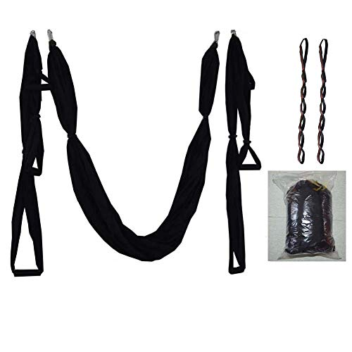 YAOTT Aerial Yoga Swing,Flying Yoga Hängematte Sling for Antigravity Yoga Inversion Exercises Include Steel Carabiners Extension Straps 7 one Size