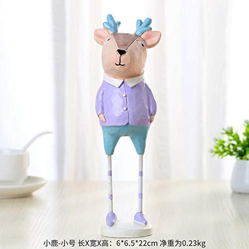 Fslt schattige pop met lange benen, cartoon, voeten van ijzer, hars, decoratie voor kantoor, hotel, als verjaardagsdecoratie