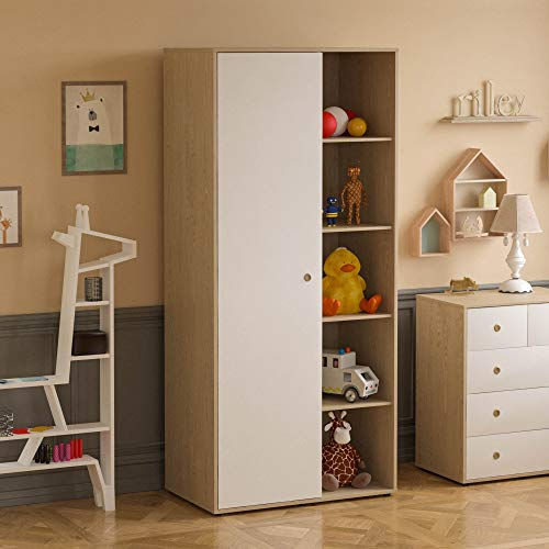 Junior Vida Neptune 1 Door Wardrobe Bedroom Clothes Rail Storage Children's Kids Furniture (White & Oak)
