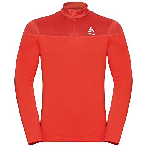 Odlo Midlayer 1/2 Zip Ceramiwarm Element Pull Homme, Poinciana, FR : S (Taille Fabricant : S)