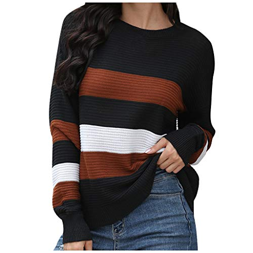 derenzide Women's Striped Color Sweaters Crew Neck Pullover Sweatshirts Long Sleeve Pullovers Stitching Color Loose Knitted Coffee