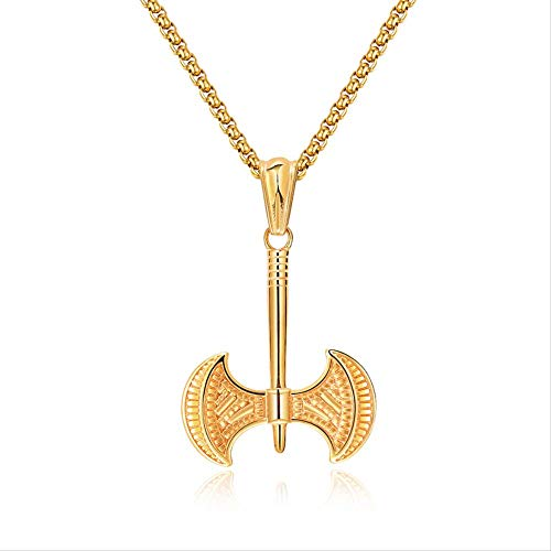 Hip Hop Rock Gold Farbe Edelstahl Axt Beil zweischneidige Axt Anhänger Halskette für Männer Schmuck 60cm