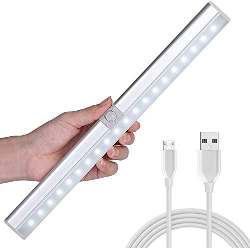 [Ultima Versione, Installabile in 3 Modi] LOFTer Lampada Armadio a 20 LED con Sensore Luce e di Movimento, Batteria Ricaricabile 900mAh, Sensore Regolabile, Auto/On/Off