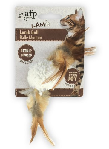 ALL FOR PAWS Lammfellball mit Vogelsound - Katzenspielzeug - Weiss