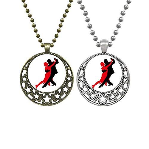 Halskette mit Anhänger für Sozial-Tänzerin, Duett, Tanzliebhaber, Retro, Mond, Sterne, Schmuck
