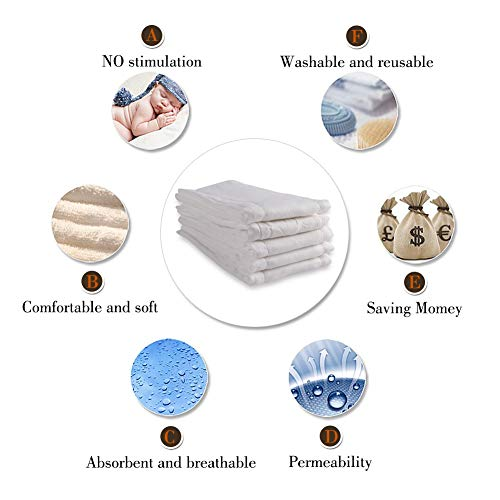 Fasoar 6 Ply Cloth Diapers Prefold, Thick Washable Absorbent Cotton Diaper Burp Cloths for Babies and Toddlers Multi-Use (10-35 lbs) 12 Pack