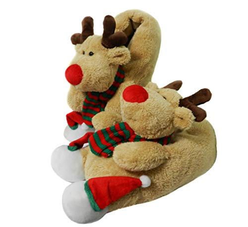 Onmygogo Fuzzy Indoor Animal Christmas Moose Slippers for Men and Women (US Women Size 7-9, Brown)
