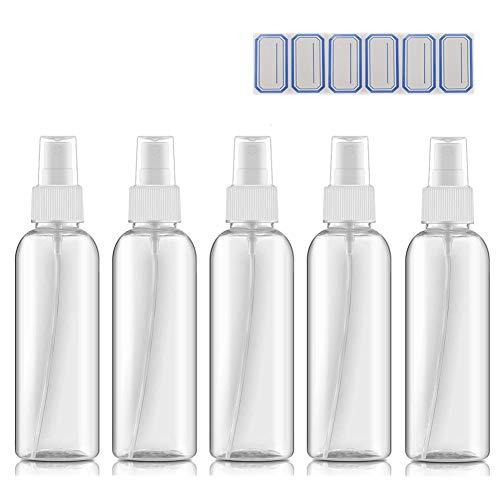 DreiWasser 5x 100ml Zerstäuber Sprühflaschen leer, Sprayflasche mit 6x Etiketten für Parfüms, Öle und Festiger