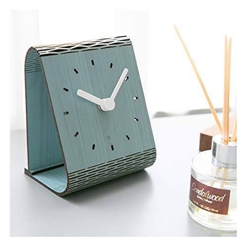 Clock ^Soporte para mesa minimalista americana para escritorio, dormitorio, péndulo silencioso, a rayas marrones para el hogar o al aire libre (color: D)