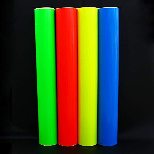 (12,99 €/m²) Plotterfolie Neon Folie Plottfolie Markierungsfolie Bastelfolie selbstklebend fluoreszierend (Neon Gelb, 100 x 63 cm)