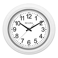 Bulova C4865 Night Vision Lighted Dial Wall Clock, 10, White