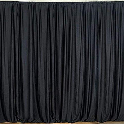 AK TRADING CO. 10 feet x 8 feet Polyester Backdrop Drapes Curtains Panels with Rod Pockets - Wedding Ceremony Party Home Window Decorations - Black