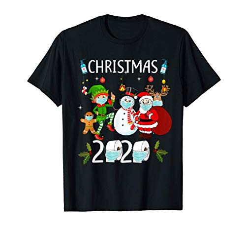 Christmas 2020 - Santa Claus and Friends wearing Mask T-Shirt