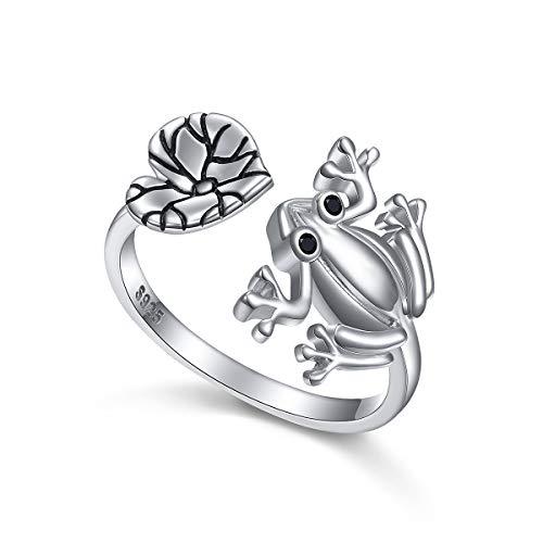 Anillo de plata de ley 925 Flyow con diseño de tortuga, rana, cerdo, panda y ajustable, para regalo de cumpleaños