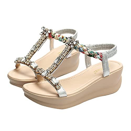 Sandalia de cuña para mujer con correa de verano, estilo bohemio, con diamantes de imitación, plataforma de vestir y zapatos de tacón, plateado, 36.5 EU