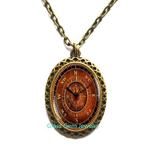 Collar de brújula, encantador collar de brújula, colgante de brújula vieja, collar steampunk, regalo de viajero, collar para hombre, Q0099