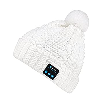 blueear Bluetooth Beanie Hat Women Knit Music Caps Hands Free Phone Talking for Winter Outdoor Sports and Workout  White