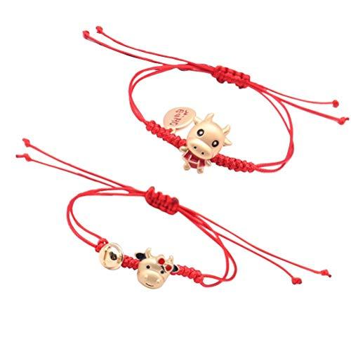 2 piezas de pulsera roja con dije de vaca, pulsera ajustable, nudo rojo, pulsera de amuleto, protección, vaca de la suerte, año nuevo, pulsera trenzada roja para protección, mal de ojo y buena suerte