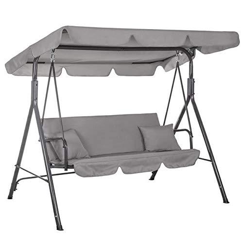 Dondolo a 3 posti, con tettuccio parasole rimovibile e inclinabile, panca a dondolo per giardino e terrazzo, portata fino a 210 kg